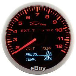 D Racing 4in1 Exhaust Gas Temperature Pressure Oil Show