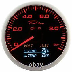 D Racing 4in1 Pressure Temperature Display Multifunction Water Oil