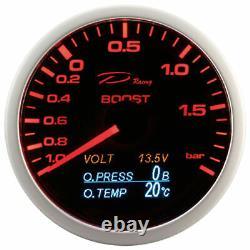D Racing 4in1 Supercharging Pressure Temperature Display Oil Volt