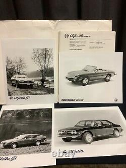 Rare Press File USA 1977 Alfa Romeo Alfetta Gt Spider Veloce Press Kit