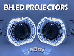 2 x 3 Complet Bi-Led Extension Projecteurs Lentille H1 H7 H4 Halo Housse Xenon