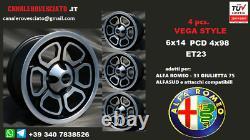 Alfa Romeo Momo Vega 14 4x98 Jantes Alfa Alfetta GTV Alfasud Giulietta 75 90 33