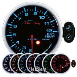 D racing 60mm Température des Gaz D'Échappement Afficher Instrument Warning Peak