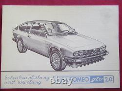 Original Alfa Romeo Alfetta Gtv 2,0 2. Série Mode D'em Ploi + Entretien NOS