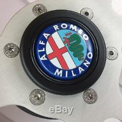 Véritable Momo Prototype Cuir Noir 350mm Direction Roue pour Alfa Romeo Klaxon